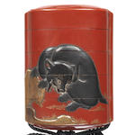 A four-case inro lacquered with a bear on a rock on a red ground 19th century