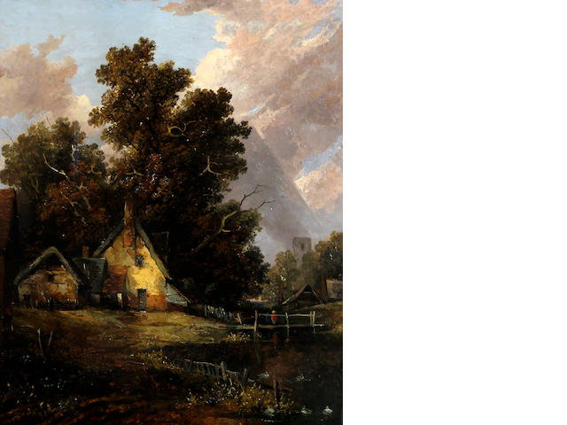 Attributed to Joseph Paul (British, 1804-1887) Riverside cottage and church
