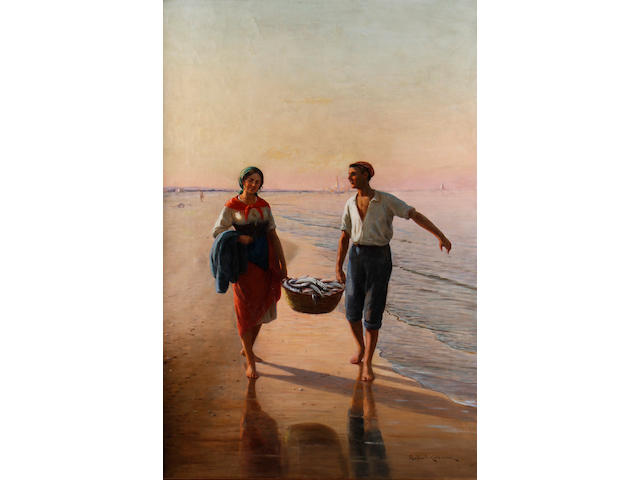 Raffaello Celommi (Italian, 1881-1957) Bringing home the catch