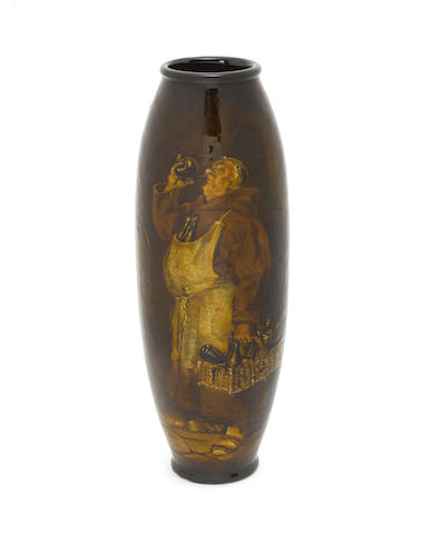 Harry Tittensor for Doulton Burslem a Good Rembrandt Ware Vase with Monk in the Cellar, circa 1900