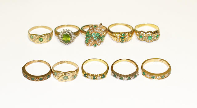 A collection of gem set rings,
