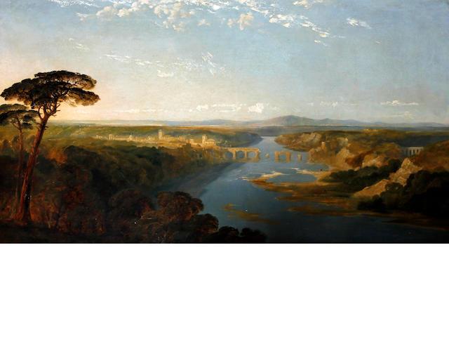 Edmund John Niemann (British, 1813-1876) A capriccio river landscape in the Roman campagna