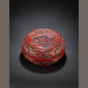 A red lacquer box and cover Qing Dynasty