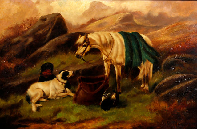 Robert Cleminson (British, active 1865-1868) Hounds and horse with the days bag, and another similar, a pair