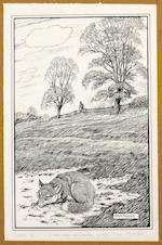 "Robin Tanner (British, 1904-1988) December signed in pencil, and inscribed, printed on William Morris ""Apple"" paper etching 29.5 x 21cm another etching by John Crome; A road by a stricken oak, two prints by Gertrude Hermes: waterlilies, no. 20/30, and The Brawn, an etching by George Soper, of Guildford High Street, and other similar items, to include a collection of original scraperboard illustrations bt Neave Parker. (parcel)"
