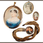 English School, 19th Century Two portrait miniatures of Ladies: the first, wearing blue dress, white fill-in, double stranded gold necklace, multi stranded pearl choker, a sapphire and diamond brooch at her corsage and matching pendant earring, her raven hair upswept and curled in tight ringlets, her white bonnet dressed with white flowers and sash ribbon (cracked); the second, wearing white fichu, her powdered hair dressed with a blue ribbon, signed on the obverse by Charles
