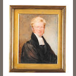 T George (British, active circa 1826) The Reverend W. D. Johnston, wearing black cloak, coat and waistcoat, white chemise and bands