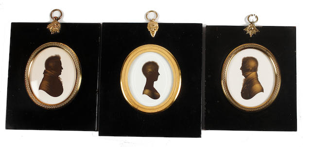 John Field (British, 1772-1848) Three silhouettes of Mr Stephen Creyke, another Gentleman, and Miss A Benwell
