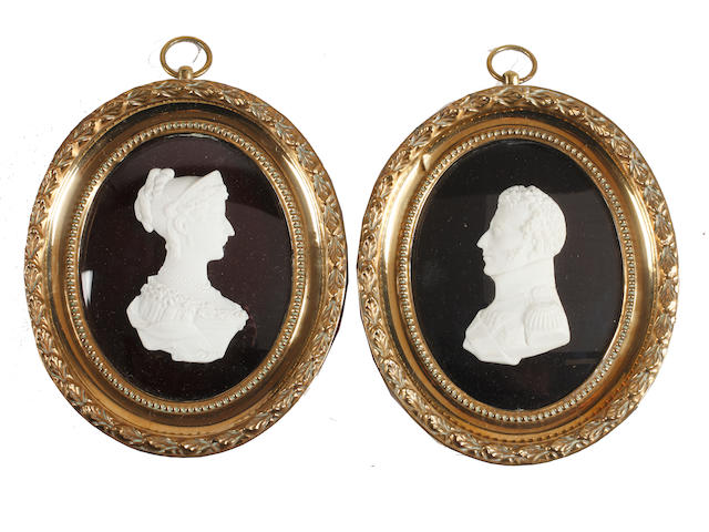 French School, circa 1810 A pair of profiles, probably Louis Antoine, Duke of Angoulême and Marie Thérèse of France: he wearing uniform, medals and breast star of the Order of St. Esprit; she, wearing dress and tiara
