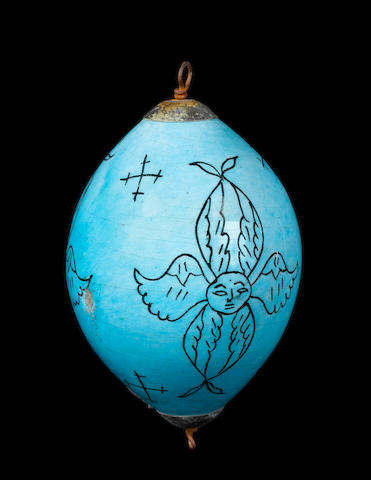 A Kutahya underglaze-painted pottery Hanging Ornament Turkey, 18th Century