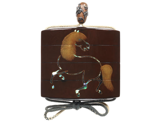 A rare brown lacquer three-case inro  By Yamada Jokasai and Yosei, 19th century