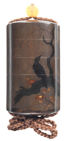 A silver lacquer four-case inro By Yamada Jokasai, 19th century