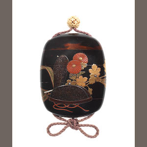 A four-case inro lacquered with an eboshi and kiku 19th century