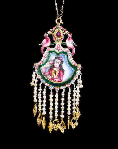A Qajar enamelled gold double-sided Pendant Persia, 19th Century