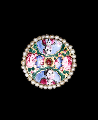 A Qajar gem-set enamelled gold Plaque in the form of a Brooch Persia, 19th Century