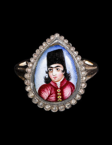A Qajar diamond-set enamelled gold Ring depicting a prince Persia, 19th Century
