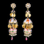 A pair of Qajar diamond-set enamelled gold Pendent Earrings Persia, 19th Century(2)