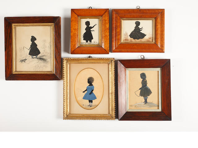 English School, Mid 19th Century Five full-length silhouettes of children holding flowers or whips
