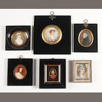 Six various portrait miniatures Four 19th Century Ladies, an 18th Century Gentleman in profile and a 19th Century Officer