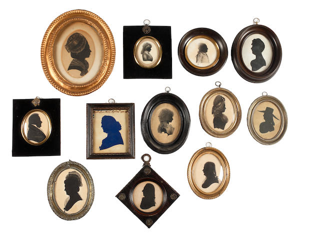 English School, 18th Century Twelve silhouettes: five Gentleman and seven Ladies