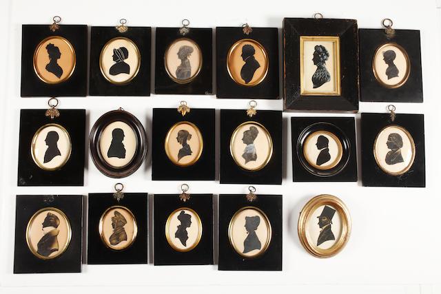 English School, 19th Century Seventeen bust-length silhouettes: seven Gentlemen and ten Ladies