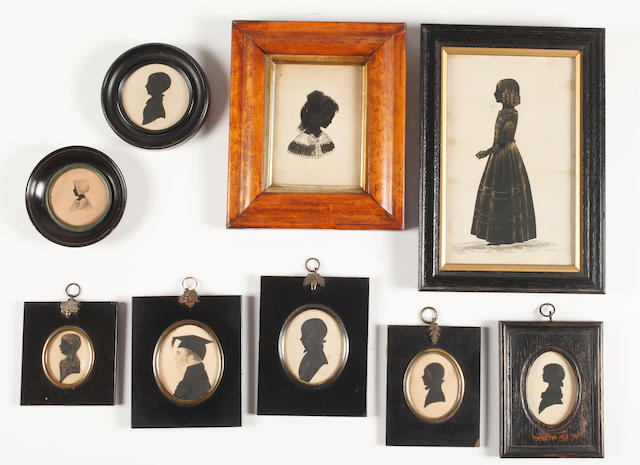 English School, 19th Century Nine silhouettes of children: one full-length holding a book; the others bust-length