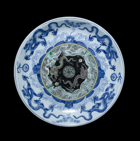 A large blue and white dish Xuande six-character mark