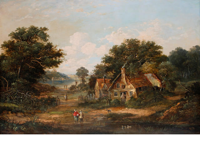 Walter Heath Williams (British, 1835-1906) Figures outside a cottage, a pair each 46 x 66cm (18 1/8 x 26in).(2)