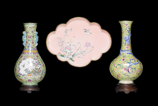 Three Canton enamel wares Qing Dynasty