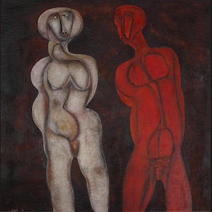 Cecil Edwin Frans Skotnes (South African, 1926-2009) Two figures