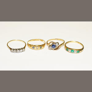 Four gem set rings
