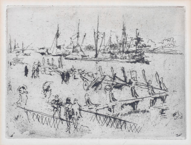 James Abbott McNeill Whistler (American, 1834-1903) Little Dordrecht Etching, c1880, on wove, 95 x 130mm (3 3/4 x 5 1/8in)(PL)