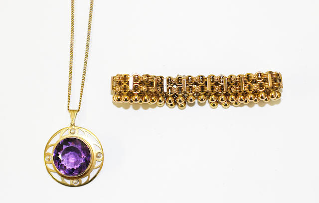 An amethyst and seed pearl pendant and a Victorian gold bracelet, (2)