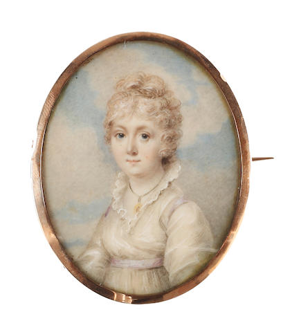 Circle of Richard Cosway, RA (British, 1742-1821), circa 1790 A Lady, called, Mary South Hayter, wearing white dress with frilled standing collar, a lavender sash ribbon at her Empire line, an oval gold and ivory pendant suspended from her neck by a black cord, her powdered hair curled and upswept