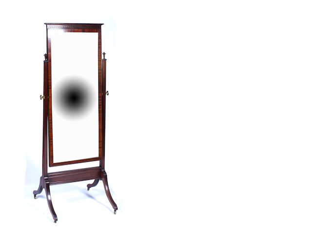 A Regency style mahogany cheval mirror, first quarter 20th century