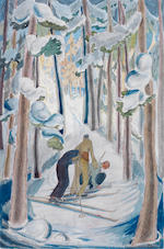 Julia Mavrogordato (British, 1903-1992) In the woods  Ink/watercolour, together with a companion piece, 'Drawing the Wood' and two other assorted watercolours and pastels, signed with initials, 360 x 250mm (14 3/16 x 9 13/16in) 4