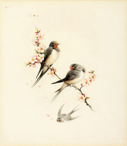 Edward Julius Detmold (British, 1883-1957) Spring - swallows and blossom