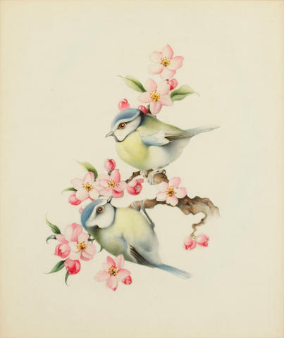 Edward Julius Detmold (British, 1883-1957) Bluetits on apple blossom