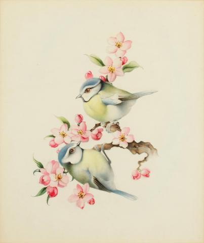 Edward Julius Detmold (British, 1883-1957) Bluetits on apple blossom
