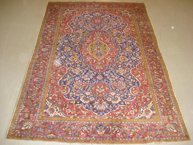 A Kashan silk rug Central Persia, 195cm x 125cm