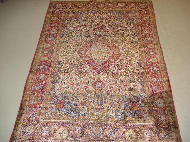 A silk Kashan rug Central Persia, 196cm x 135cm