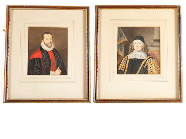 Sylvester Harding (British, 1745-1809) Two portrait miniatures of George Hakewill (c.1578–1649) and Sir Harbottle Grimston, 2nd Baronet (1603–1685): the former, wearing black and red cloak, white cuff and ruff; the latter, seated on a red upholstered chair before a stone pillar and blue tasseled drapery, wearing black coat embellished with gold lace and braid piping, white lace lawn collar and black skull cap