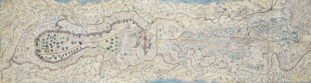 An unusual and large Indian map of a fortified hill top fort, North Indian, early 19th century