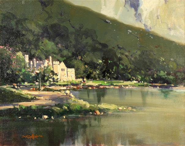 George K. Gillespie (Irish, 1924-1995) Kylemore Abbey 40.5 x 50.5 cm. (16 x 20 in.)