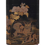 A four-case inro lacquered in togidashi with a cat and two kittens 19th century