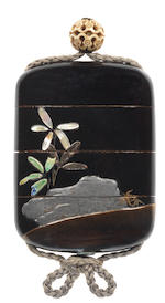 A rare black lacquer two-case inro  By Teiji, 19th century