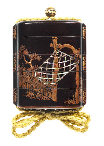A black lacquer small four-case inro  17th century