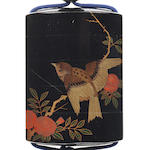 A four-case inro lacquered in togidashi with a finch and spider's web 19th century