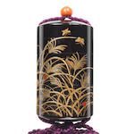 A five-case inro lacquered with insects on autumn plants 19th century