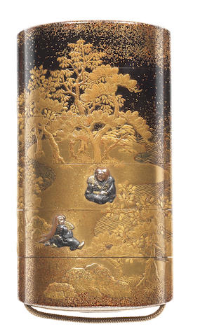 A gold and black lacquer five-case inro  By Jitokusai Gyokuzan, 19th century